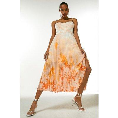 Karen Millen Ombre Floral Pleat Bustier Midi Dress -, Orange