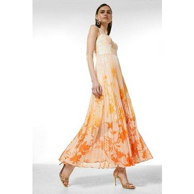 Karen Millen Ombre Floral Pleated Deep V Maxi Dress -, Orange