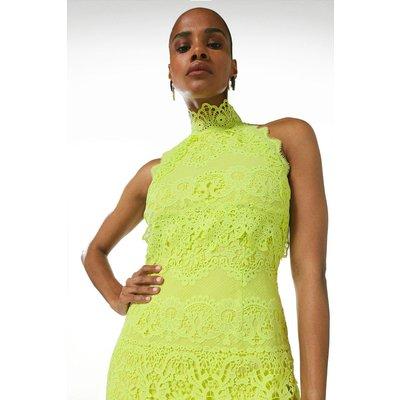 Karen Millen Lace Applique Halter Woven Midi Dress -, Green
