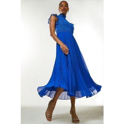 Karen Millen Lace Applique Pleat Midi Dress -, Blue