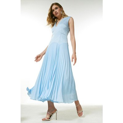 Karen Millen Quilt Satin And Pleat Deep V Midi Dress -, Blue