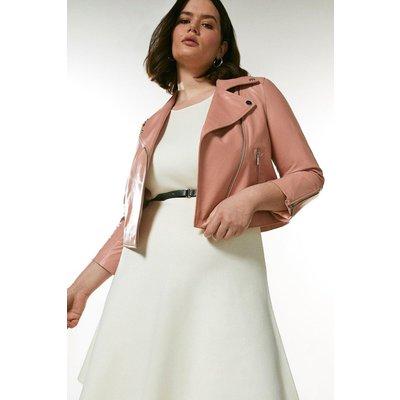 Karen Millen Curve Shrunken Leather Biker Jacket -, Pink