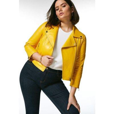 Karen Millen Curve Shrunken Leather Biker Jacket -, Yellow