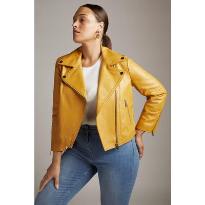 Karen Millen Curve Shrunken Leather Biker Jacket -, Orange