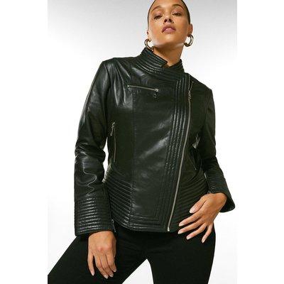 Karen Millen Curve Leather Racer Biker Jacket -, Black