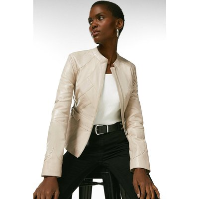 Karen Millen Leather Seam Detail Buckle Waist Jacket -, Nude