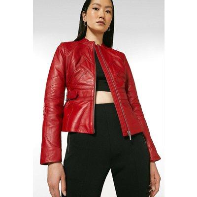 Karen Millen Leather Seam Detail Buckle Waist Jacket -, Red