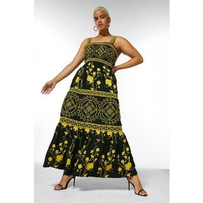 Karen Millen Curve Tile Embroidered Low Back Maxi Dress -, Black
