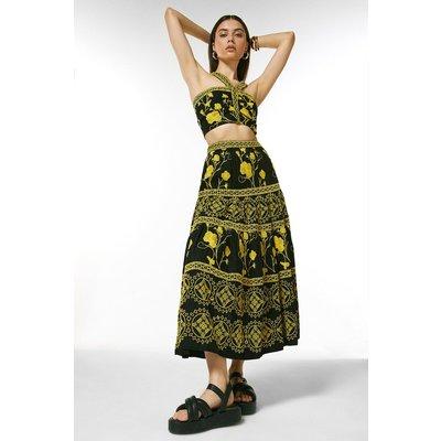 Karen Millen Tile Embroidered Maxi Skirt -, Black