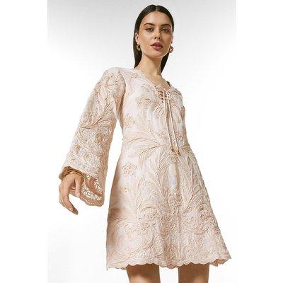 Karen Millen Tape Applique Eyelet Kaftan Woven Dress -, Pink