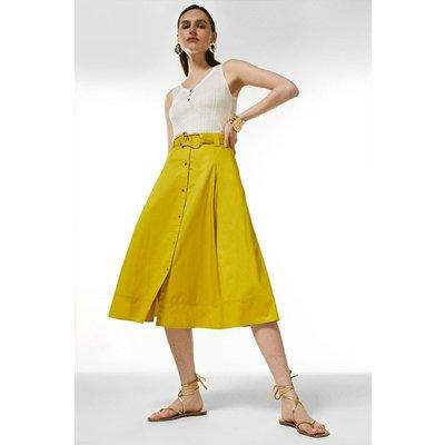Karen Millen Cotton Utility Skirt -, Chartreuse