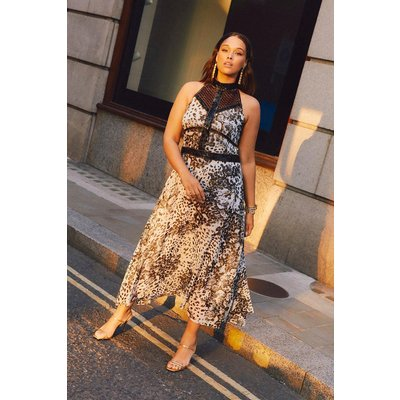 Karen Millen Curve Print Beaded Woven Midi Dress -, Leopard