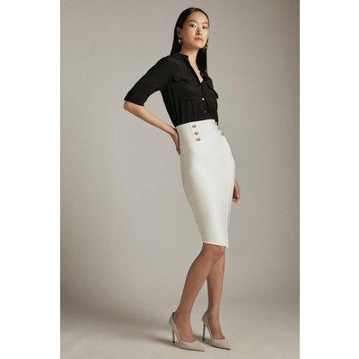 Karen Millen Military High Waisted Bandage Pencil Skirt -, Ivory