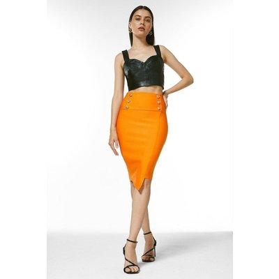 Karen Millen Military High Waisted Bandage Pencil Skirt -, Orange