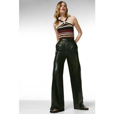 Karen Millen Leather Wide Leg Flare Trouser -, Black