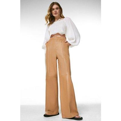 Karen Millen Leather Wide Leg Flare Trouser -, Tan