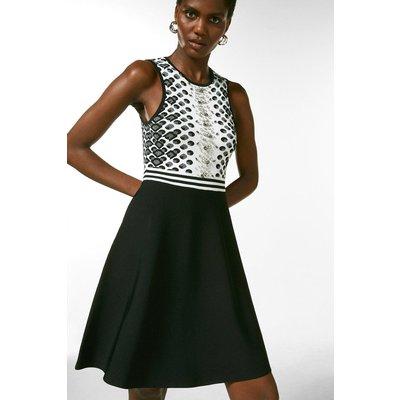Karen Millen Jacquard Embellished Fit And Flare Dress -, Blackwhite
