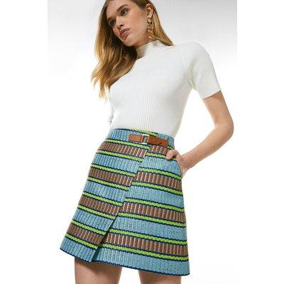 Karen Millen Italian Raffia Tweed A Line Skirt, Multi