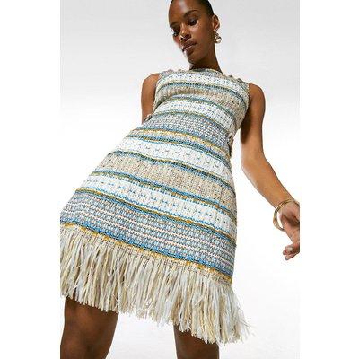 Karen Millen Signature Italian Fringed Tweed Shift Dress, Multi