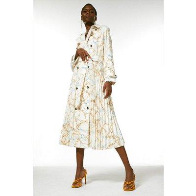 Karen Millen Chain Print Pleated Trench Coat -, Cream