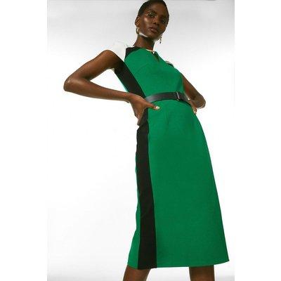 Karen Millen Belted Colour Block Ponte Shift Dress -, Green
