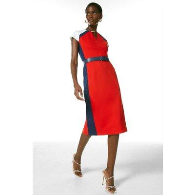 Karen Millen Belted Colour Block Ponte Shift Dress -, Red