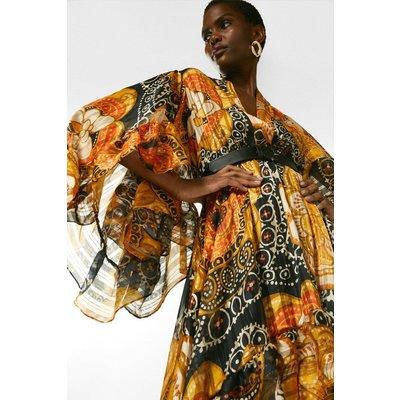 Karen Millen Batik Drama Sleeve Belted Woven Midi Dress -, Yellow