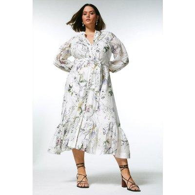 Karen Millen Curve Botanical Silk Cotton Pintuck Dress -, Floral