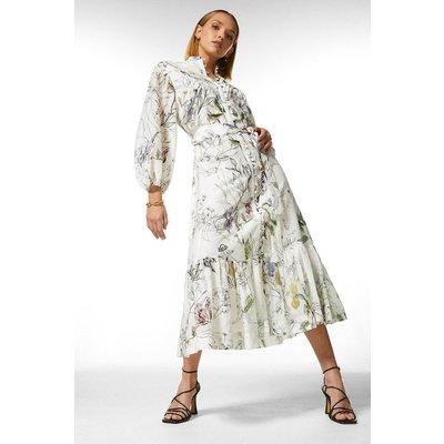Karen Millen Petite Botanical Silk Cotton Pintuck Dress -, Floral