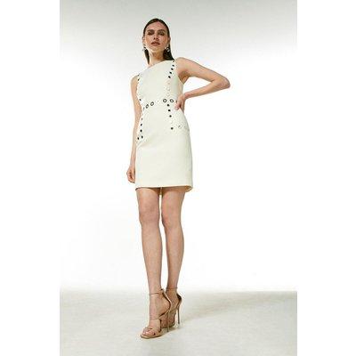 Karen Millen Eyelet Detail Shift Dress -, Ivory
