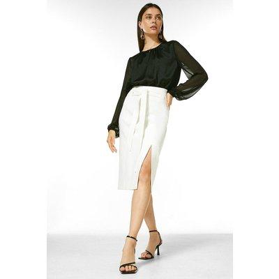 Karen Millen Structured Stretch Tie Belt Skirt -, Ivory