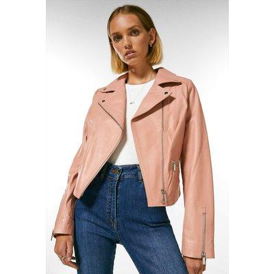 Karen Millen Petite Leather Signature Biker Jacket -, Pink