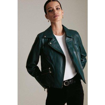 Karen Millen Petite Leather Signature Biker Jacket -, Green