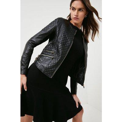 Karen Millen Petite Leather Quilted Biker Jacket -, Black