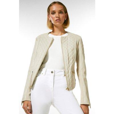 Karen Millen Petite Leather Quilted Biker Jacket -, Cream