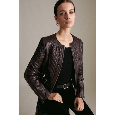 Karen Millen Petite Leather Quilted Biker Jacket -, Fig