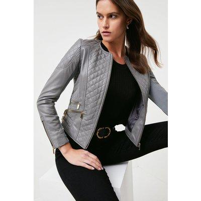 Karen Millen Petite Leather Quilted Biker Jacket -, Pale Grey