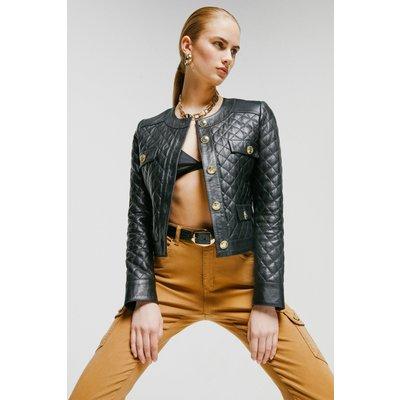 Karen Millen Petite Leather Quilted Trophy Jacket -, Black