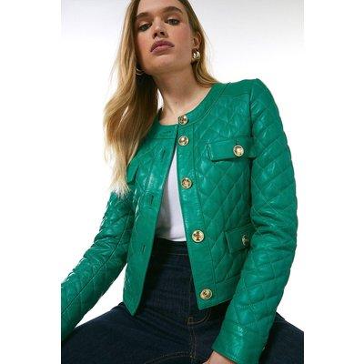 Karen Millen Petite Leather Quilted Trophy Jacket -, Bright Green