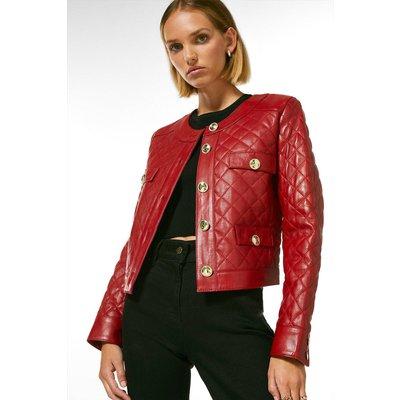 Karen Millen Petite Leather Quilted Trophy Jacket -, Red