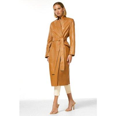 Karen Millen Petite Leather  Notch Neck Coat -, Camel