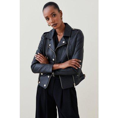 Karen Millen Petite Military Leather Biker -, Black