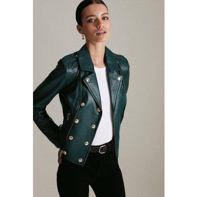 Karen Millen Petite Military Leather Biker -, Green