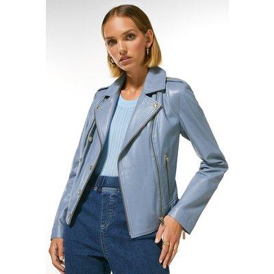 Karen Millen Petite Military Leather Biker -, Pale Blue