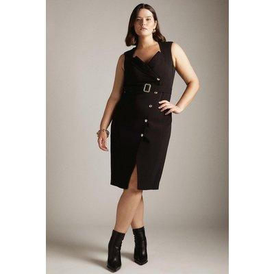 Karen Millen Curve Compact Viscose Tux Pencil Dress -, Black