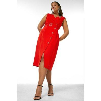 Karen Millen Curve Compact Viscose Tux Pencil Dress -, Red