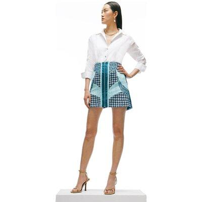 Karen Millen Linton Tweed Patchwork A Line Skirt -, Blue