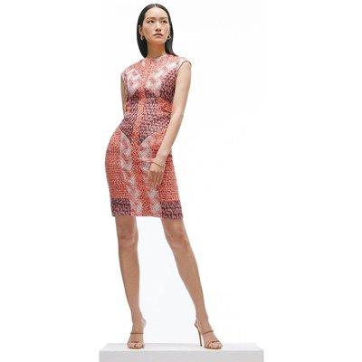 Karen Millen Linton Tweed Patchwork Pencil Dress -, Red