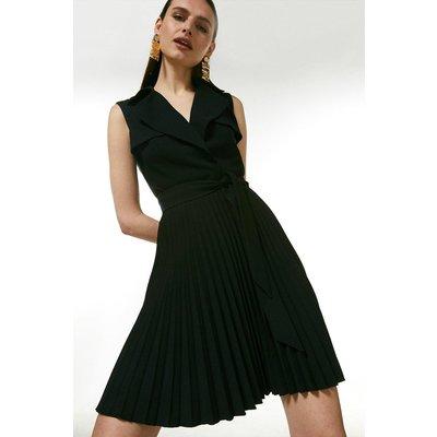 Karen Millen Sleeveless Pleated Skirt Trench Dress -, Black