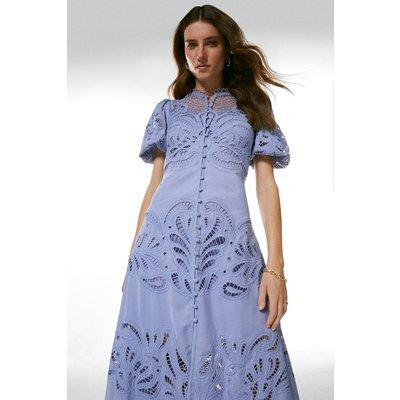 Karen Millen Cutwork Button Through Dress - Lavender, Lilac